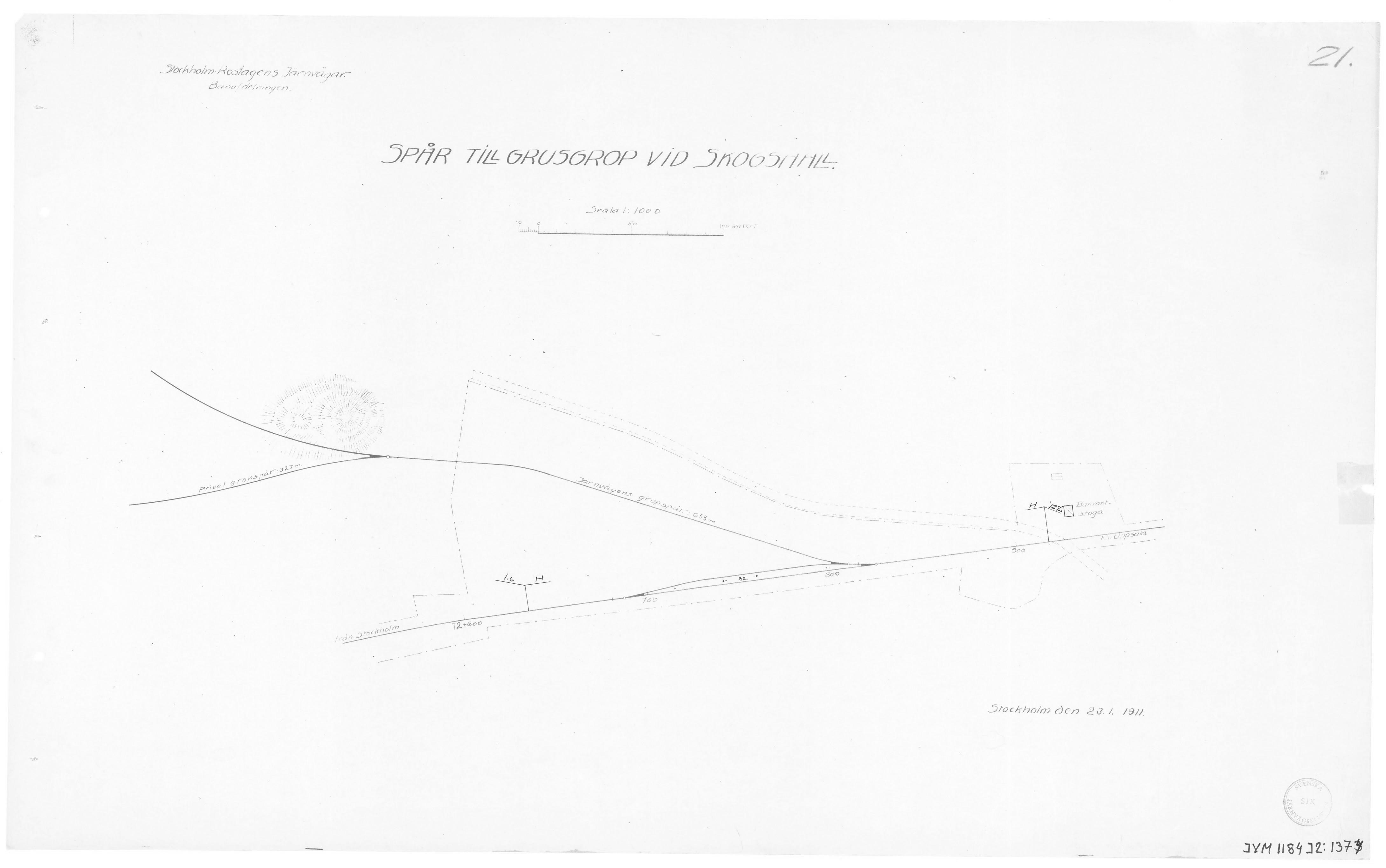 Saknas: Ritning 1. Spår till grusgrop vid Skogshall.
